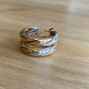 Vintage 9ct, 9k, 375 tri_colour Gold, hoop Earrings with post & scroll fittings