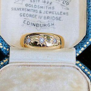 Antique Victorian 18ct, 18k, 750 Gold Diamond three stone, gypsy Ring