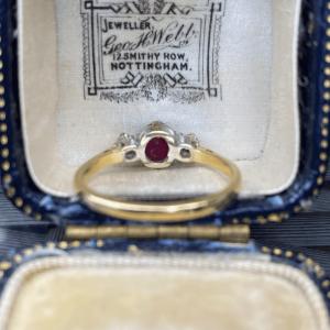 Art Deco 18ct,18k, 750 Gold Ruby & Diamond 0.55ct, 3 stone Engagement Ring C1930