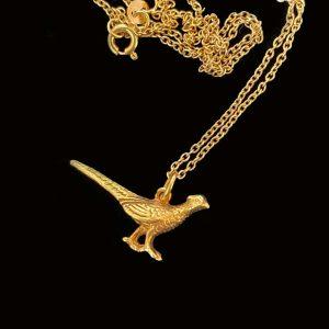 Vintage 9ct, 9k, 375 yellow gold, pheasant bird, pendant charm