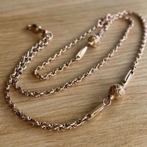 Edwardian 9ct, 9k, 375 Rose Gold fancy link & decorative ball chain