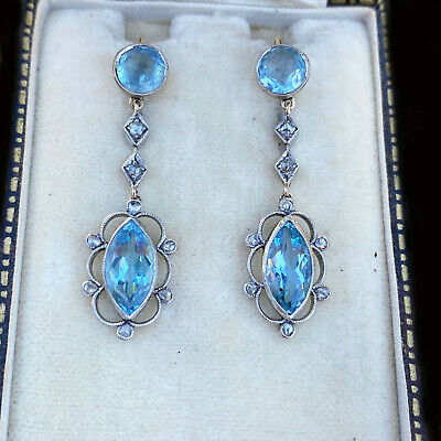 Edwardian 15ct, 15k, 625 rose Gold Aquamarine & Diamond drop Earrings C1905