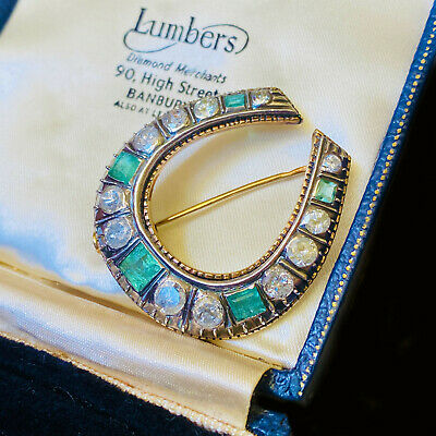 Magnificent Gold Emerald 1.10ct & Diamond 2.50ct Lucky horseshoe brooch C1890
