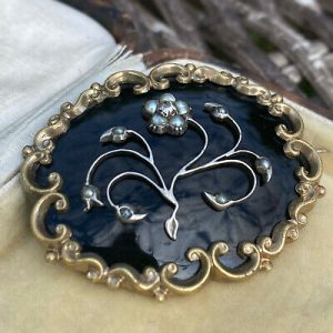Victorian gold, black Enamel, Pearl & Diamond mourning brooch Circa 1840