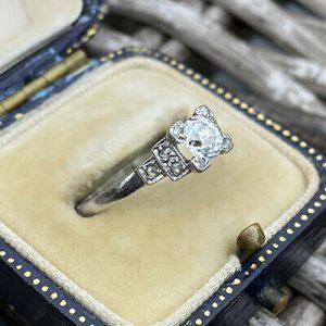 Art Deco Platinum old-cut Diamond 0.50ct solitaire engagement ring, Circa 1920