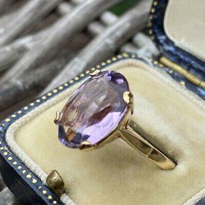 "Gorgeous 9ct, 9k, 375 Gold ""Rose de France"" Amethyst solitaire dress ring"