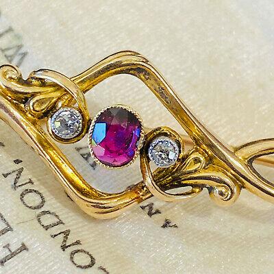 Art Nouveau 15ct, 15k, 625 Gold Ruby & Diamond brooch, Circa 1890