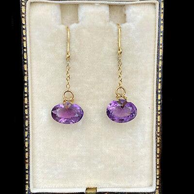 Antique, Beautiful Edwardian 9ct, 9k, 375 Gold Amethyst Drop Earrings
