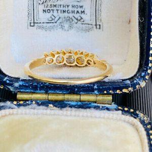 Edwardian 18ct, 18k, 750 Gold Diamond 0.75ct Five Stone Ring, Circa 1901