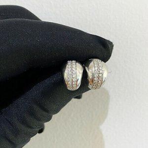 Stunning 18ct, 18k, 750 white gold Diamond huggie, hoop earrings