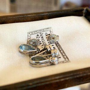 Pair of 18ct, 18k, 750 White Gold Aquamarine & Diamond (2.26ct) drop earrings