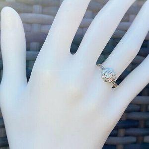 Art Deco 14ct, 14k, 585 Gold,European-cut Diamond solitaire 0.15ct ring, C1915
