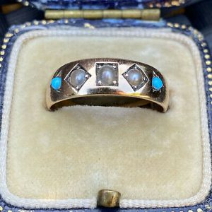 Victorian 15ct, 15k, 625 Rose Gold, Turquoise & Pearl three Stone Gypsy ring