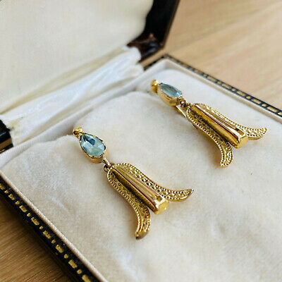 Vintage pair of 9ct, 9k, 375 Gold, Paste drop dangle Earrings with screw fitting