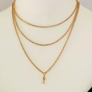 Beautiful, Edwardian 9ct, 9k, 375 Rose Gold Muff, guard, fancy link chain C1910