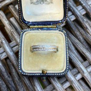 Art Deco 18ct, 18k, 750 Gold Diamond eternity, anniversary, stacking ring