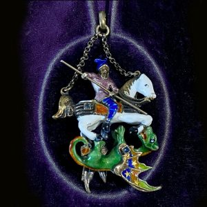 RESERVED - Austro Hungarian Silver, Gold and Sapphire 'St George & The Dragon' pendant