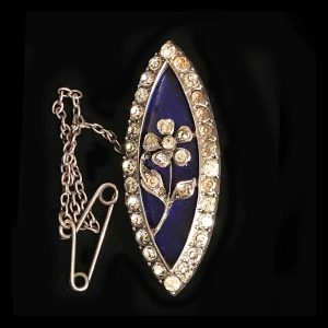 A Magnificent, Rare Georgian Sterling Silver black dot Paste & Blue glass Navette Brooch. Circa 1800's