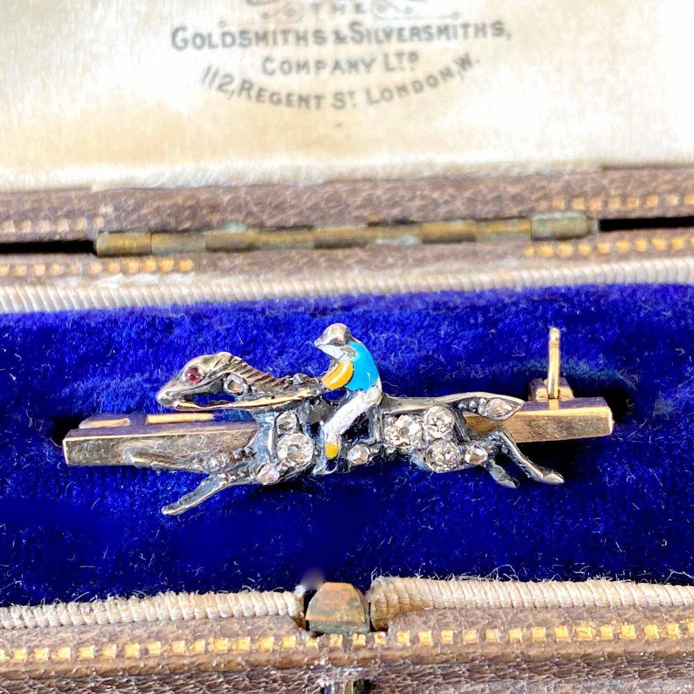 Edwardian 9ct Gold and Silver Diamond & Enamel race horse & Jockey, equestrian themed bar brooch, tie pin, Circa 1901