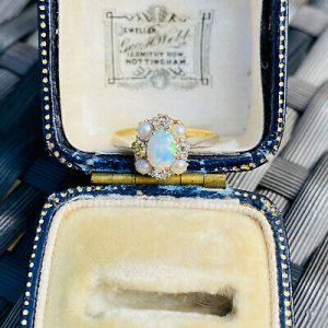 Edwardian 18ct, 18k, 750 Gold & Platinum Opal, Pearl and Diamond cluster Ring