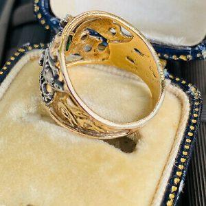 Fabulous Statement ring, 18ct gold, silver, rose cut diamond & green paste