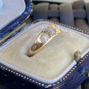 Edwardian Diamond & Pearl three Stone 18ct, 18k, 750 Gold Gypsy ring C1901