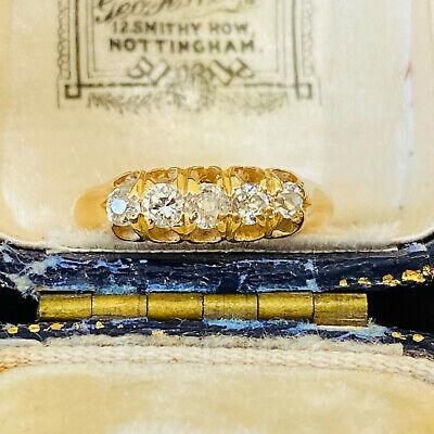 Victorian 18ct, 18k, 750 Gold Old-cut Diamond 0.50ct five stone ring, Circa 1900