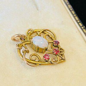 Art Nouveau 9ct, 9k, 375 Gold Opal & Ruby heart shaped, lavaliere pendant C1895