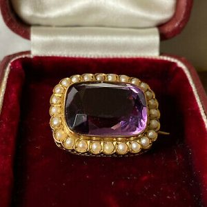 Victorian 9ct, 9k, 375 Gold Amethyst & natural seed Pearl brooch, pin C1890