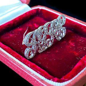 Gorgeous, Platinum Diamond initial, monogram RGRC, letter brooch, pin, tie pin