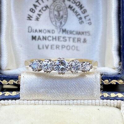 Vintage, 18ct, 18k, 750 Gold & Platinum Diamond 0.54ct five stone Ring, C1950
