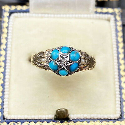 Sweet Edwardian 9ct, 9k. 375 Gold Turquoise, Pearl and diamond star cluster ring