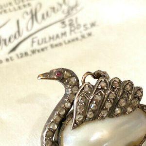 Victorian 15ct/15k, 625 Rose Gold & Silver, Pearl, Diamond & Ruby swan brooch