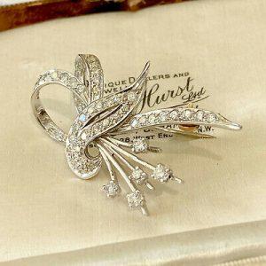 Fine, Art Deco Platinum PT950, Diamond 1.80ct cluster, spray brooch, Circa 1935
