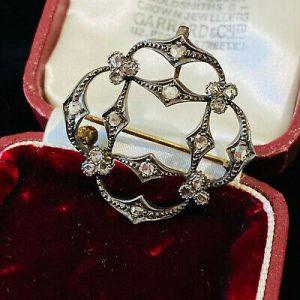 Fine Edwardian, 18ct, 18k, 750 Gold rose-cut Diamond 0.60ct Brooch-cum-pendant