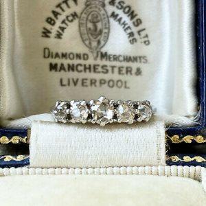 Art Deco Platinum diamond 0.72ct five stone engagement ring, Circa 1935