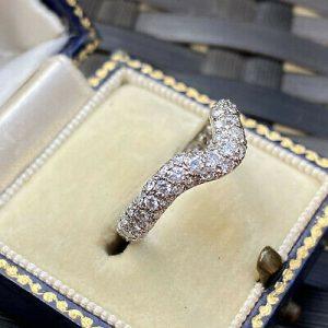 Stunning, Platinum, pave-set diamond 1.35ct curved Eternity, wedding Ring