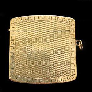 Antique 9ct, 9k, 375 gold vesta case, match box, hallmarked for 1913/1914, 23g