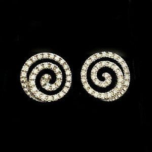Fine 18ct, 18k, 750 White gold Diamond swirl earrings