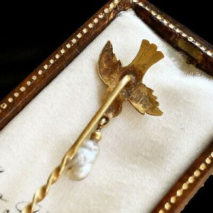 Victorian 15c/15k, 625 Gold Swallow & Pearl stick, tie, cravat, lapel pin C1895