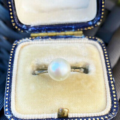 Classic Art Deco 9ct, 9k, 375 White Gold Saltwater Cultured 7-7.5mm Pearl Ring