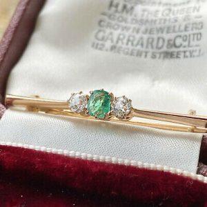 Edwardian 14ct, 14k, 585 rose gold Diamond & Emerald trilogy bar brooch, tie pin