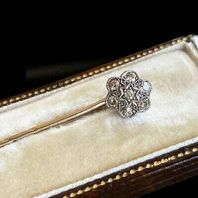 Art Deco 18ct/18k, 750 Gold Diamond cluster, daisy stick, tie, cravat, Lapel pin