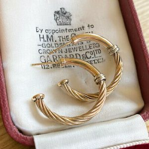 Fabulous pair of 9ct/9k, 375 two-colour Gold, hoop Earrings, fully hallmarked
