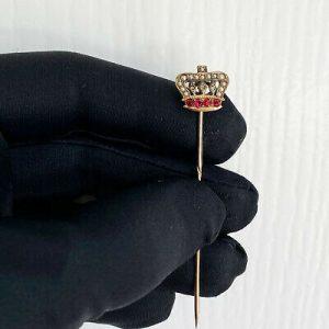 Victorian seed Pearl, rose-cut diamond & Paste crown stick,tie,cravat,lapel pin