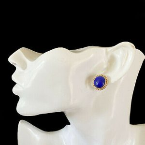 Fabulous 9ct, 9k, 375 gold Lapis Lazuli earrings, 16.5mm, post & scroll fittings