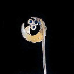 Edwardian 18ct/18k,750 Gold Sapphire & Pearl crescent stick,tie,cravat,lapel pin