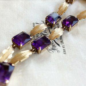 "Stunning, Art Deco, 9ct, 9k, 375 Gold Amethyst bracelet, Length 7"" / 18cm. C1935"
