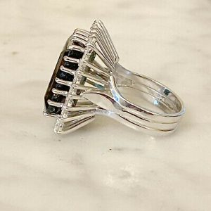 SOLD - Magnificent 18ct/18k, 750 white Gold, Tourmaline & Diamond 16.56cts Cluster Ring