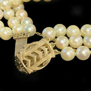 Gorgeous, Cultured Saltwater 6.5mm Pearl, three row bracelet on 9ct Pearl Clasp